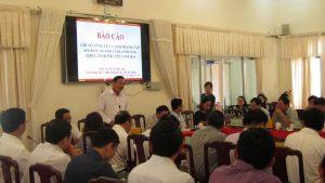 Ông Nguyễn Duy Dương - Giám đốc Sở Tài nguyên - Môi trường phát biểu tại hội nghị